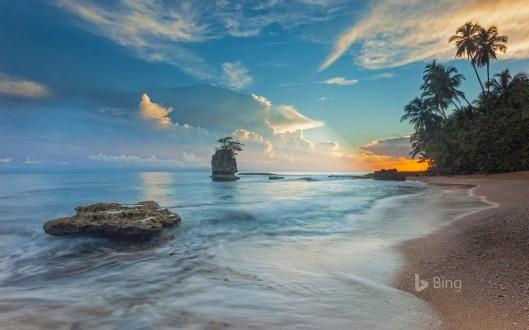 The shoreline of Cahuita National Park in Costa Rica